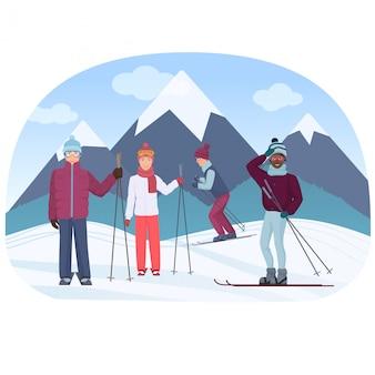 Un gruppo di persone che guidano i cieli nell'illustrazione di vettore delle montagne. gente di sci