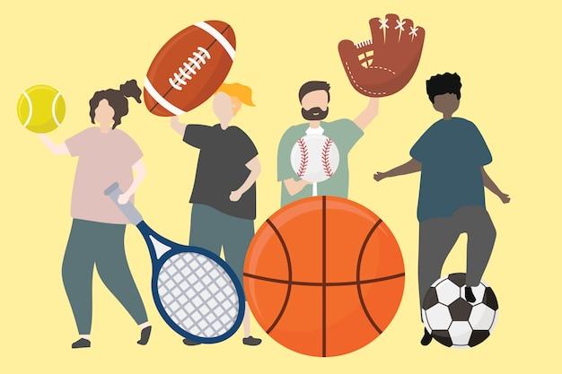 Un gruppo di persone con l'illustrazione di attrezzature sportive