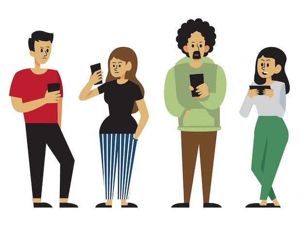 Un gruppo di persone focalizzate sul proprio telefono