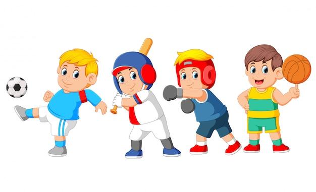 Un gruppo di sport professionali con diversi tipi di sport