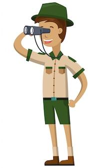 Un guardiano dello zoo usa il binocolo
