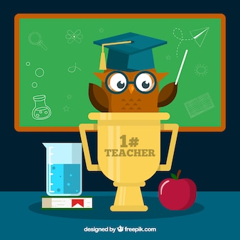 Un gufo marrone, giorno degli insegnanti mondiali