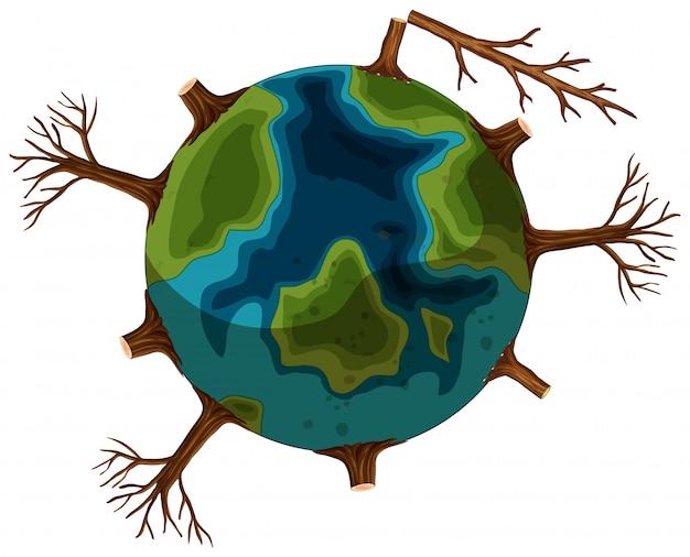 Un'icona di terra di deforestazione