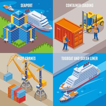 Un'icona isometrica di quattro porti marittimi ha messo con l'illustrazione di descrizioni del rimorchiatore e del transatlantico delle gru del porto di caricamento del contenitore