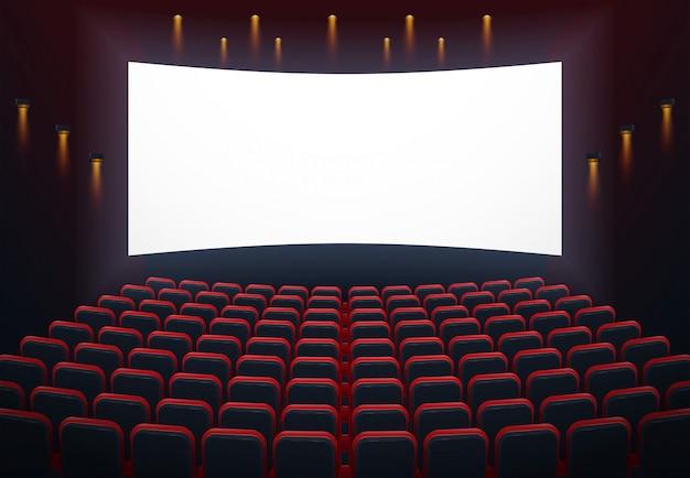 Un'illustrazione dell'interno di un cinema cinema con copyspace sullo schermo