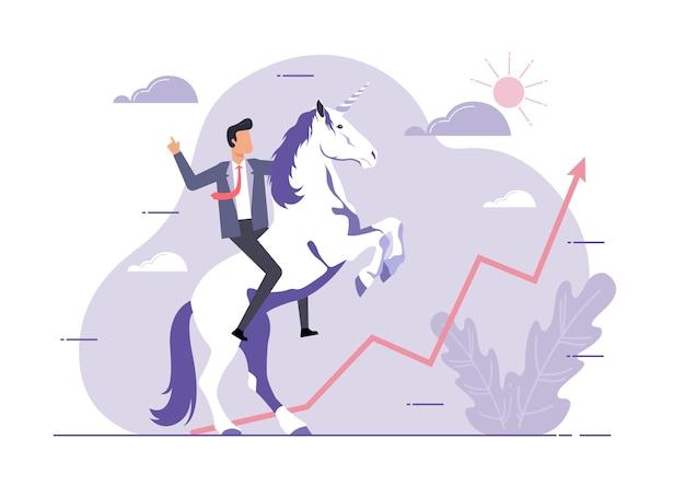 Un'illustrazione dell'unicorno simbolo di successo. concetto di avvio aziendale. uomo d'affari e un unicorno guardando l'obiettivo, il successo, la leadership