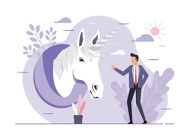 Un'illustrazione dell'unicorno simbolo di successo. concetto di avvio aziendale. uomo d'affari guardando la testa di unicorno. realizzazione e leadership
