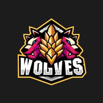 Un'illustrazione di due lupi per il logo della squadra di gioco
