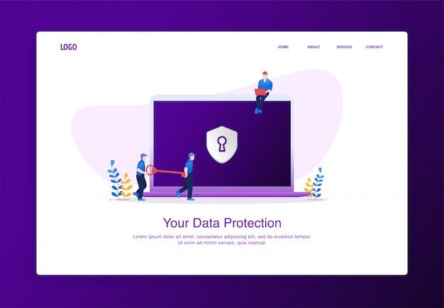 Un'illustrazione di due uomini porta la chiave per sbloccare la sicurezza dei dati sul laptop. moderno concetto di design piatto, modello di pagina di destinazione.