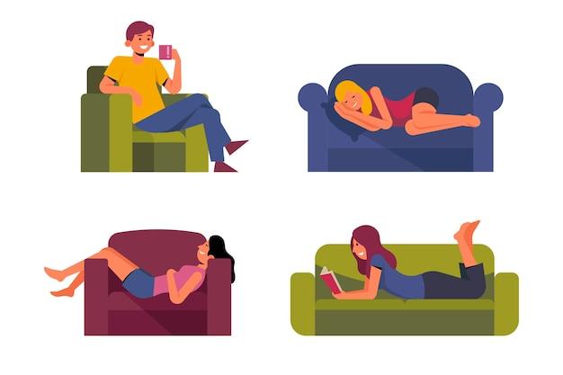Un'illustrazione di rilassamento della persona a casa