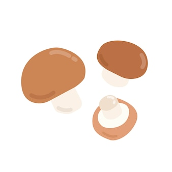 Un'illustrazione grafica di tre funghi marroni