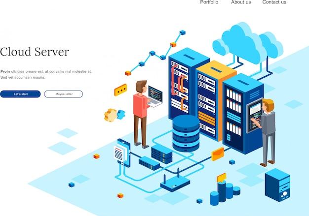 Un'illustrazione isometrica del server del computer di manutenzione di due persone nella stanza del centro dati. illustrazione isometrica 3d per modello di homepage