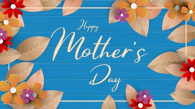 Un'illustrazione moderna di una festa della mamma felice, con i fiori di carta e la lettera sopra. cartolina d'auguri di felice festa della mamma con bellissimi fiori sfondo