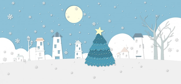 Un'illustrazione nevosa del villaggio di inverno con un grande albero di natale.