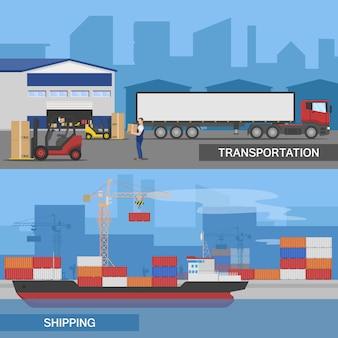 Un'illustrazione orizzontale piana di due panorami logistici ha messo con le descrizioni di trasporto e del trasporto