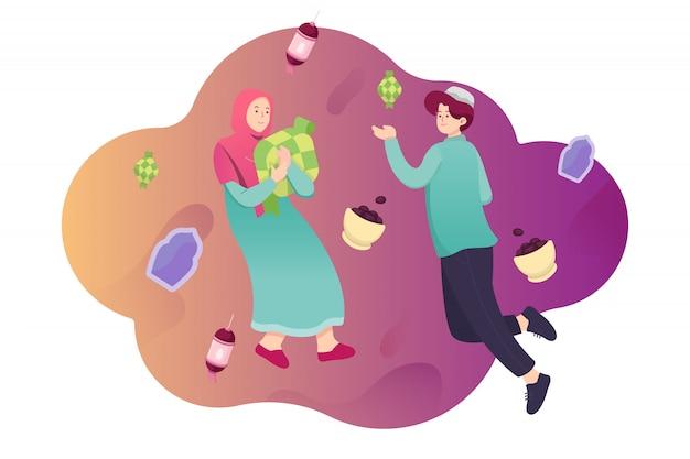 Un'illustrazione piana di due persone accolgono felicemente il concetto di eid fitri