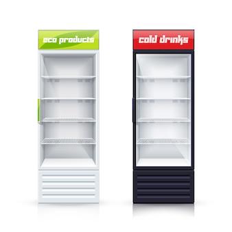 Un'illustrazione realistica di due frigoriferi vuoti