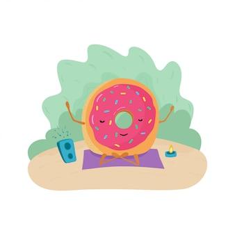 Un'illustrazione variopinta divertente di una ciambella che medita su una coperta con musica e una candela.