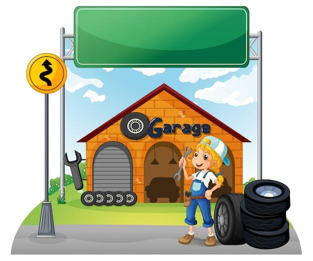 Un'insegna vuota vicino al negozio di garage