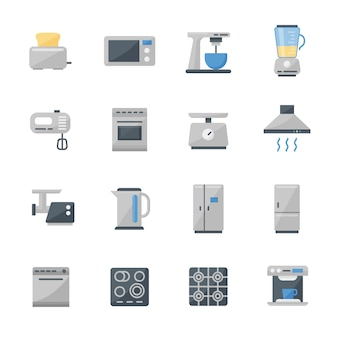Un insieme di 16 icone piane degli elettrodomestici da cucina.