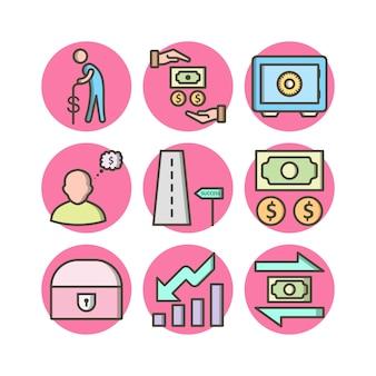 Un insieme di 9 icone di attività bancarie sugli elementi isolati vettore bianco