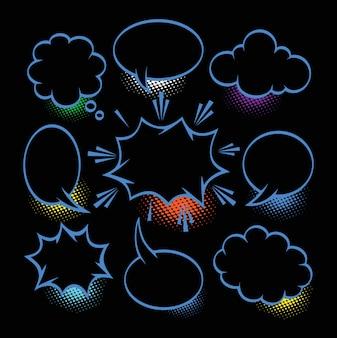 Un insieme di bolle ed elementi comici con le ombre di semitono su fondo nero
