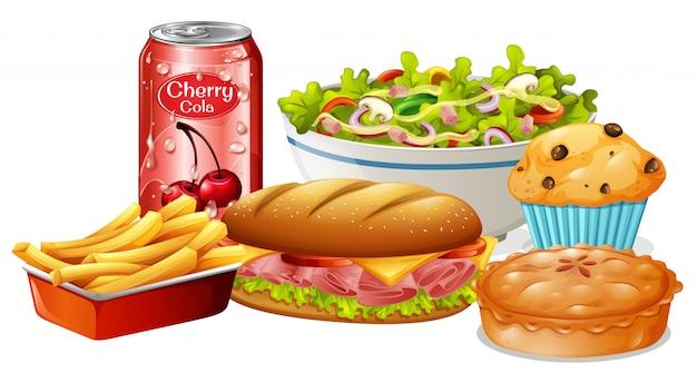 Un insieme di cibo su sfondo bianco