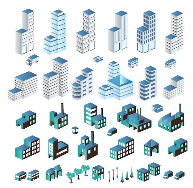 Un insieme di edifici urbani e industriali in isometrica