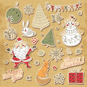 Un insieme di elementi natalizi per il design. babbo natale, pupazzo di neve, albero di natale, lepre, volpe, fiocchi di neve e stelle