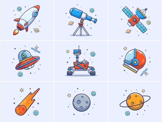 Un insieme di illustrazione di elementi spaziali.