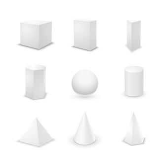 Un insieme di nove forme geometriche elementari di base, primitivi in bianco 3d isolati