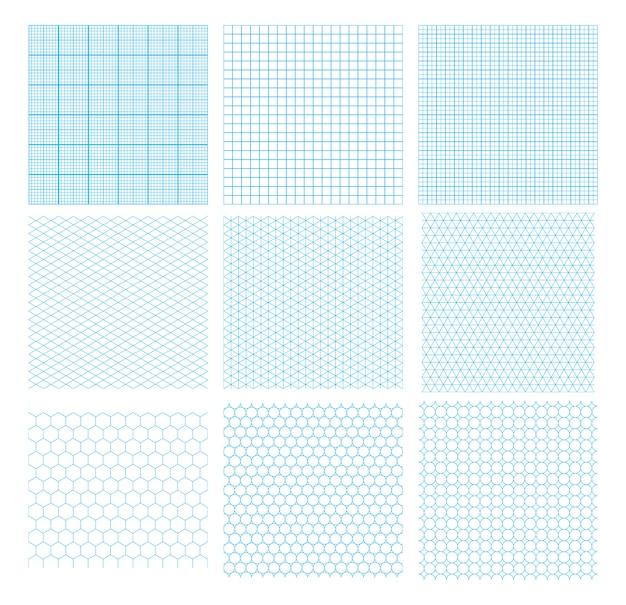 Un insieme di nove griglie geometriche ciano, modelli senza cuciture isolati. millimetrico, isometrico, esagonale e cerchi.