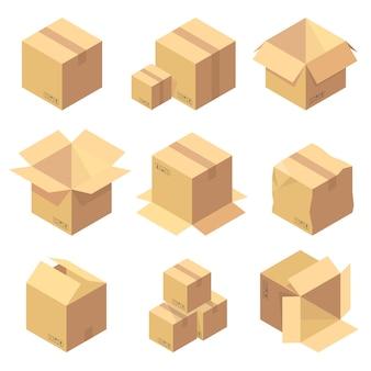Un insieme di nove scatole di cartone isometriche isolate su bianco