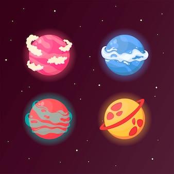 Un insieme di pianeti fantasy per la progettazione di giochi e applicazioni. pianeti con elementi di acqua, gas, crateri e nuvole.