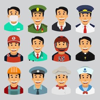 Un insieme di professioni maschili, avatari.