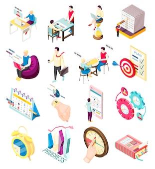 Un insieme di sedici icone isometriche di concetto di gestione efficace isolato con elementi di organizzatore personale e personaggi di persone