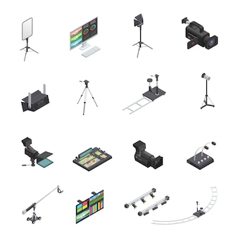 Un insieme di sedici icone isometriche isolate dell'apparecchiatura dello studio di radiodiffusione e del video e di video compreso ca