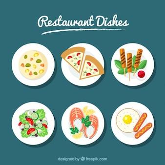 Un insieme di sei piatti ristorante