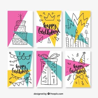 Un insieme di sei schede di compleanno in stile memphis