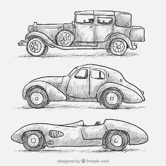 Un insieme di tre disegni eleganti auto d'epoca