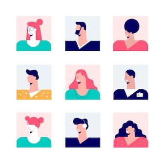 Un insieme di un avatar di nove quadrati dell'illustrazione piana della gente moderna casuale