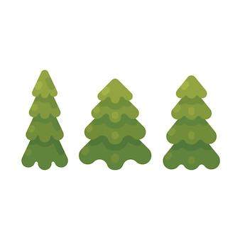 Un insieme di un'illustrazione piana di tre alberi di abete. icone piane dell'albero di natale