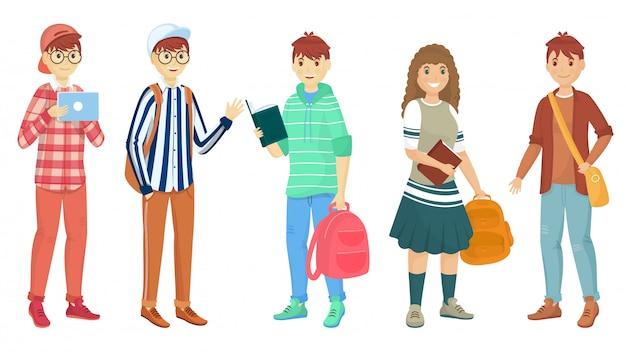 Un insieme di una borsa di scuola della tenuta di cinque giovani studenti nella posa stante