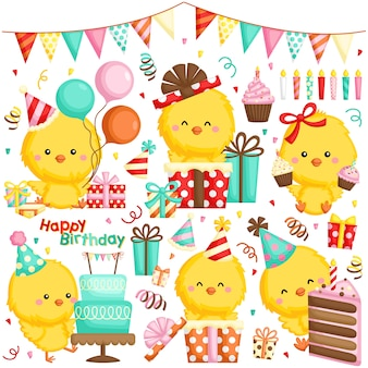 Un insieme di vettore di vari polli che celebra il compleanno con le torte e molti regali
