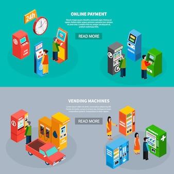 Un insieme isometrico di due insegne orizzontali con la gente che usando i terminali di pagamento online e l'illustrazione di vettore isolata 3d dei distributori automatici differenti