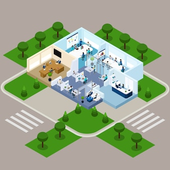 Un interno isometrico di un ufficio di piani
