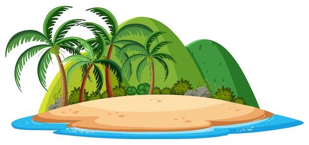 Un'isola isolata su sfondo bianco
