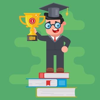 Un laureato detiene una coppa d'oro vincente e si erge sul podio di libri. vittoria nella competizione intellettuale. personaggio piatto