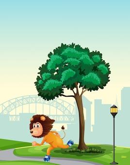 Un leone che gioca a roller skate nel parco