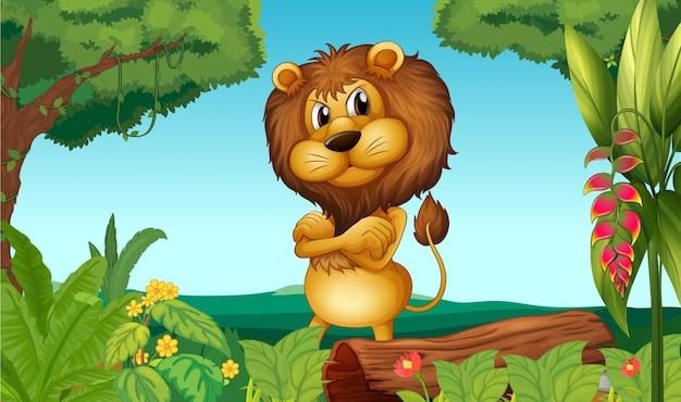 Un leone in piedi nel bosco